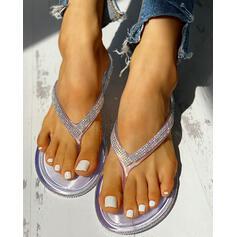 Frauen PVC Flascher Absatz Sandalen Peep Toe Pantoffel mit Strass Schuhe