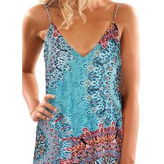 Print Sleeveless Shift Above Knee Casual/Boho/Vacation Dresses