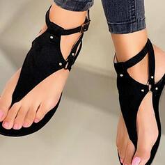 Women's PU Flat Heel Sandals Flip-Flops With Rivet Hollow-out Solid Color shoes