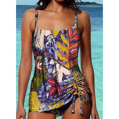 Tropical Print Strap Vintage Tankinis Swimsuits