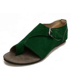 Femmes Suède Talon plat Sandales Chaussures plates avec Semelle chaussures