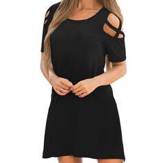 Solide Korte Mouwen Shift Boven de knie Zwart jurkje/Casual Jurken