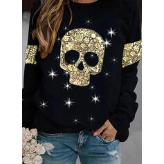 Print Sequins Halloween Round Neck Long Sleeves Sweatshirt