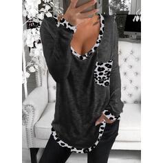 lampart Dekolt w kształcie litery V Długie rękawy Casual T-shirty