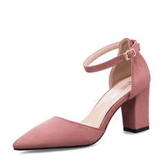 Mulheres Camurça Salto robusto Sandálias Bombas Fechados com Fivela sapatos