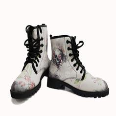 Vrouwen PU Low Heel Laarzen Martin Boots met Geborduurd schoenen