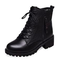 Femmes PU Talon bottier Escarpins Bout fermé Bottes Bottines Bottes mi-mollets avec Zip Dentelle chaussures