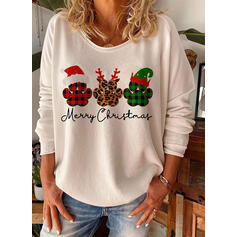 Animal Print Figure Round Neck Long Sleeves Casual Christmas T-shirts