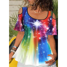 Print Tie Dye Cold Shoulder Short Sleeves Casual Blouses