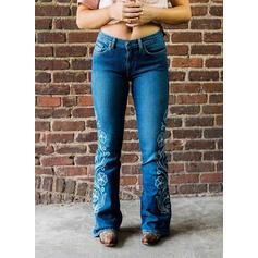 Jacquard Embroidery Plus Size Long Elegant Sexy Denim & Jeans