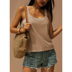 Solid Strap Sleeveless Tank Tops