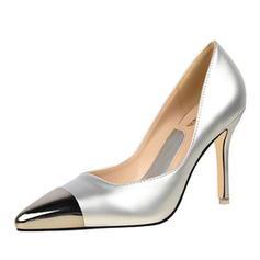 Kvinnor Lackskinn Stilettklack Pumps Stängt Toe med Split gemensamma skor