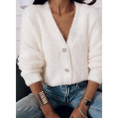 Solid V-Neck Casual Cardigan