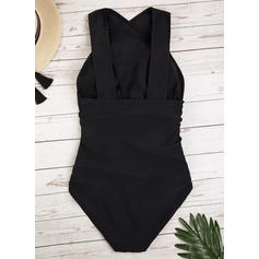 Solid Color Halter Elegant One-piece Swimsuits