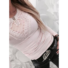 Solid Lace Round Neck Long Sleeves Casual Elegant Knit T-shirt