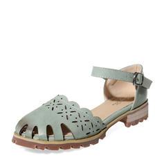 Donna PU Tacco basso Punta chiusa con Fibbia Cava-out scarpe
