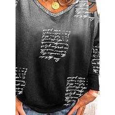 Print Figur Gradient Kold skulder Lange ærmer Casual Skjorter