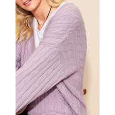 Polyester Lange Mouwen Effen kleur Cardigans