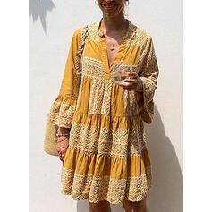 Print Long Sleeves/Flare Sleeves Shift Knee Length Casual/Boho/Vacation Dresses