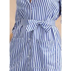 W paski Rękawy 1/2 W kształcie litery A Asymetryczna Casual Sukienki
