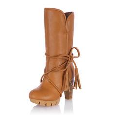 De mujer Cuero Tacón stilettos Salón Cerrados Botas Botas a la rodilla Botas longitud media Botas de nieve Botas de equitación con Cordones Borla zapatos