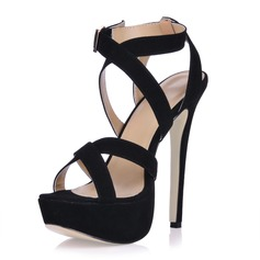 Women's Suede Stiletto Heel Sandals Platform With Buckle shoes