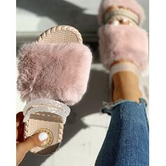 Women's Velvet Flat Heel Flats Slippers With Faux-Fur shoes