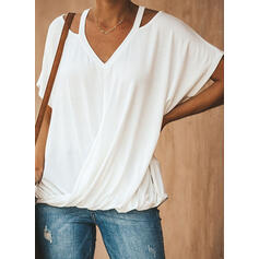 Solide V-hals Korte Mouwen Casual Breiwerk t-shirt