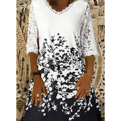 Lace/Print/Floral 3/4 Sleeves Shift Knee Length Casual/Vacation Tunic Dresses