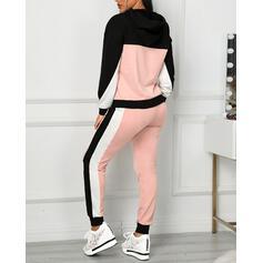 Hooded Long Sleeves Color Block Sports Top & Pants Sets
