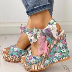 Donna Panno Zeppe Sandalo Punta aperta con Bowknot scarpe