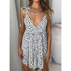 Print/PolkaDot Sleeveless Sheath Above Knee Sexy/Vacation Dresses