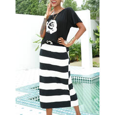 Print/Floral/Striped 1/2 Sleeves Sheath Casual/Vacation Maxi Dresses