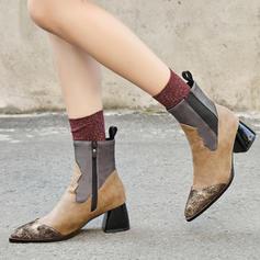 PU Chunky sarok Csizma -Val Cipzár cipő