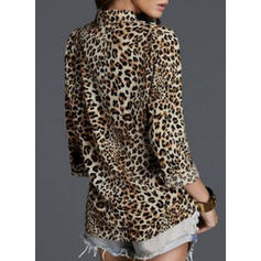 Animal Print Lapel Long Sleeves Button Up Casual Shirt Blouses