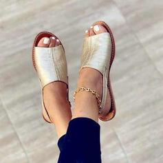 Dla kobiet Skóra ekologiczna Płaski Obcas Sandały Otwarty Nosek Buta Bez Pięty Z Klamra Tkanina Wypalana obuwie
