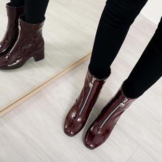 Femmes Cuir verni Talon bottier Escarpins Bottes Bottes mi-mollets avec Zip chaussures
