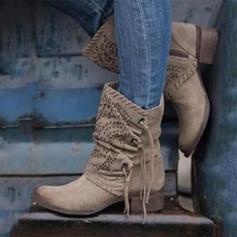 Női PU Chunky sarok Magassarkú Csizma Mid-Calf Csizma -Val Lace-up cipő