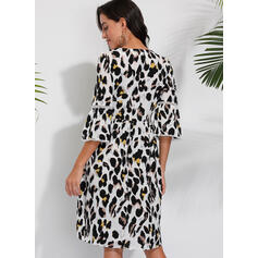 Leopard 1/2 Sleeves A-line Knee Length Casual/Elegant Skater Dresses