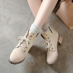 Mulheres Microfibra Couro Salto robusto Bombas Botas com Aplicação de renda Divisão separada sapatos