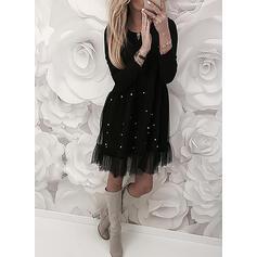 Solid Long Sleeves Shift Knee Length Little Black/Casual/Elegant Dresses
