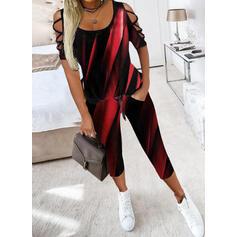 Imprimeu gündelik Büyük beden blouse & İki Parça Kıyafetler Set ()