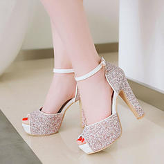 Women's Leatherette Chunky Heel Sandals Pumps Platform With Sequin shoes