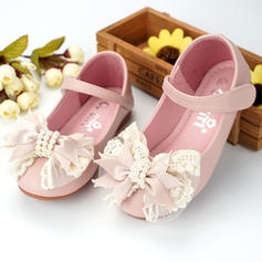 Girl's Microfiber Leather Flat Heel Round Toe Flats With Beading Bowknot Velcro