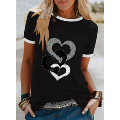 Perlée Cœur Imprimé Col Rond Manches Courtes T-shirts