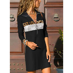 Sequins/Leopard Long Sleeves Shift Knee Length Casual Tunic Dresses