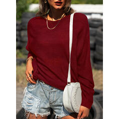 Solid Boat Neck Casual Sweaters