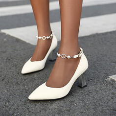 Women's PU Chunky Heel Pumps With Rhinestone Beading Buckle shoes