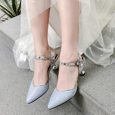 Donna Similpelle Tacco a spillo Sandalo Stiletto Punta chiusa con Fibbia scarpe