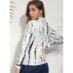 Print V-Neck Long Sleeves Button Up Shirt Blouses